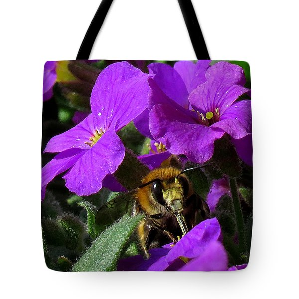 Bee Feeding On Purple Flower Tote Bag