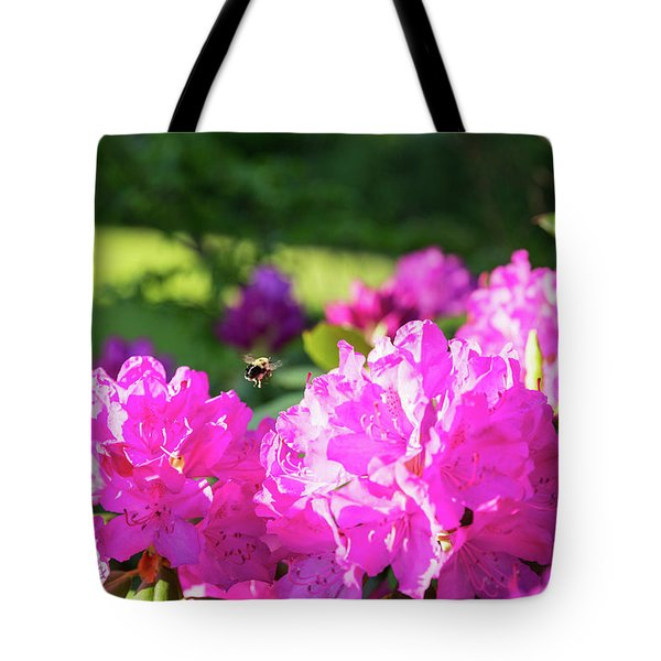Bee Flying Over Catawba Rhododendron Tote Bag
