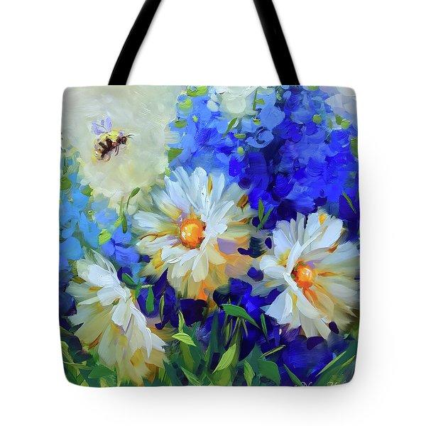 Bee Happy Daisies Tote Bag