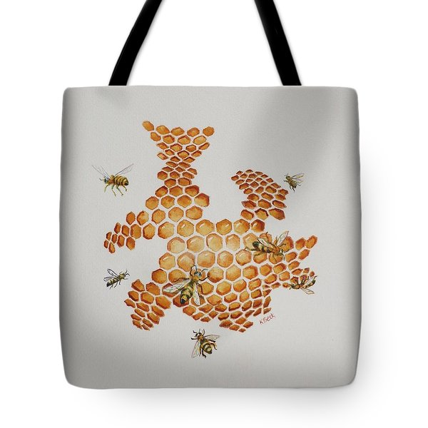 Tote Bag featuring the painting Bee Hive # 1 by Katherine Young-Beck
