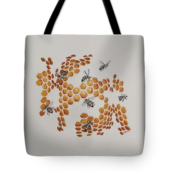 Tote Bag featuring the painting Bee Hive # 2 by Katherine Young-Beck