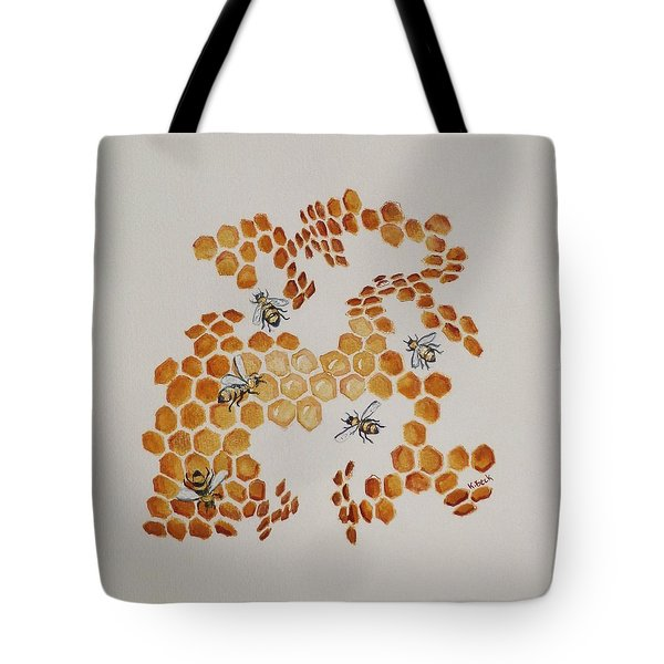 Tote Bag featuring the painting Bee Hive # 5 by Katherine Young-Beck