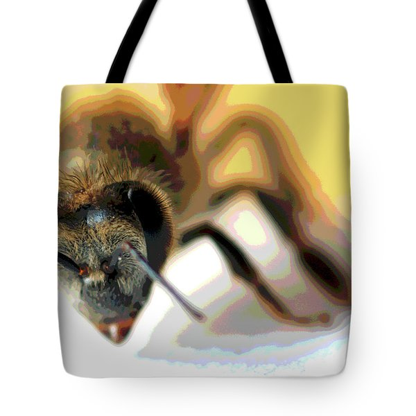 Tote Bag featuring the photograph Bee In Macro 5 by Micah May