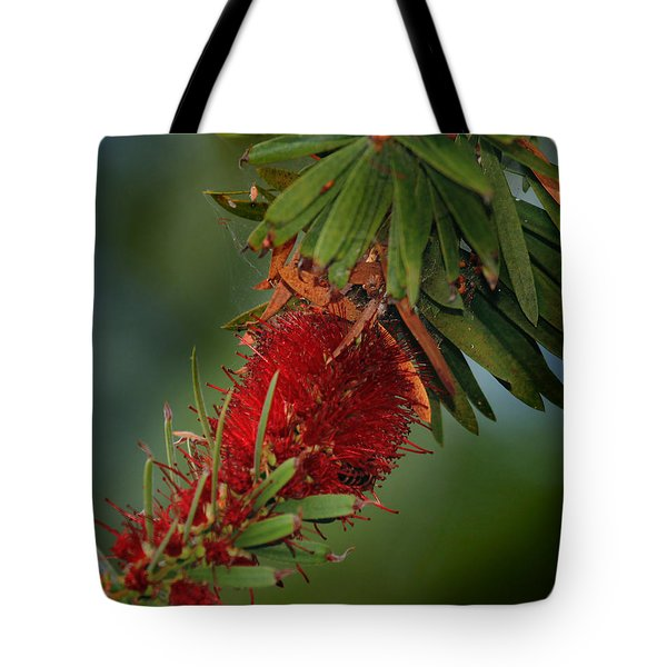 Tote Bag featuring the photograph Bee In Red Flower by Joseph G Holland