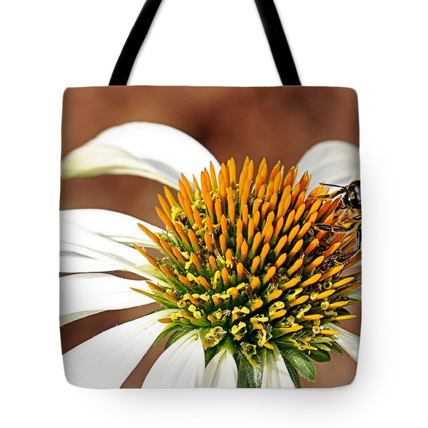 Tote Bag featuring the photograph Bee In The Echinacea  by AJ Schibig