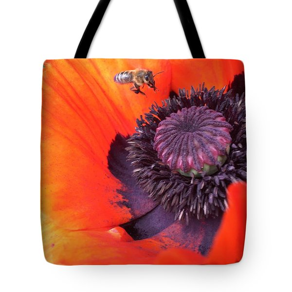 Bee Is Visiting A Poppy Tote Bag