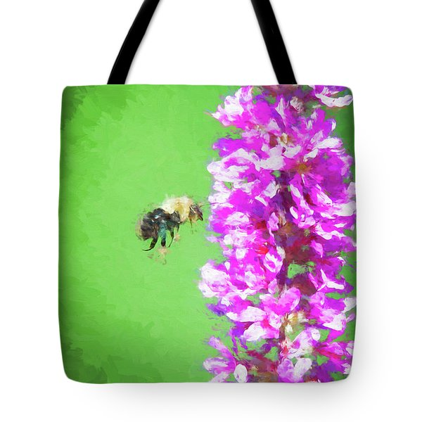 Bee Kissing A Flower Tote Bag