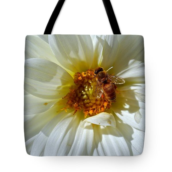 Bee Nice Dahlia  Tote Bag