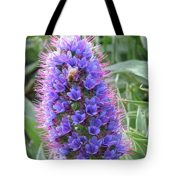 Bee On Blue Tote Bag