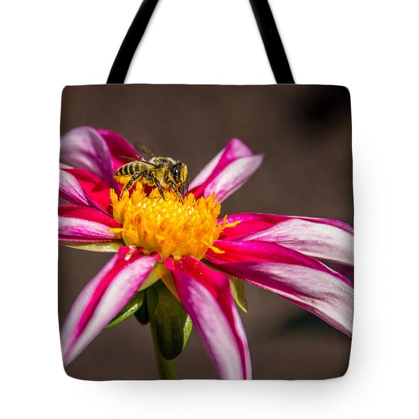 Tote Bag featuring the photograph Bee On Dahlia by Randy Bayne