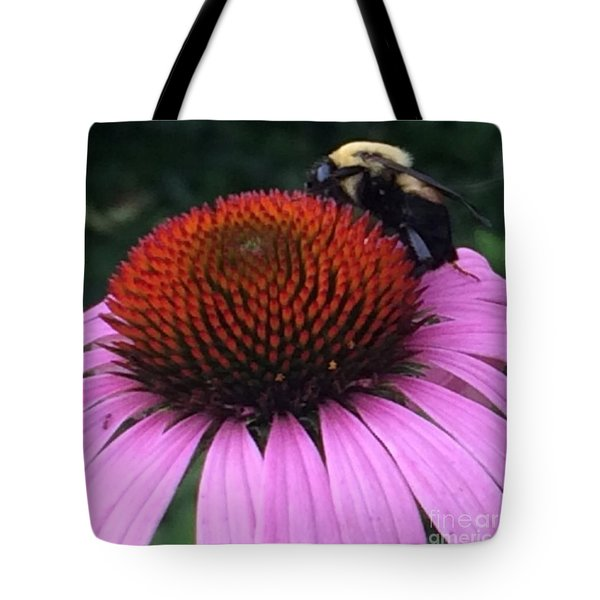 Bee On Flower By Saribelle Rodriguez Tote Bag by Saribelle Rodriguez