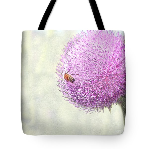 Bee On Giant Thistle Tote Bag