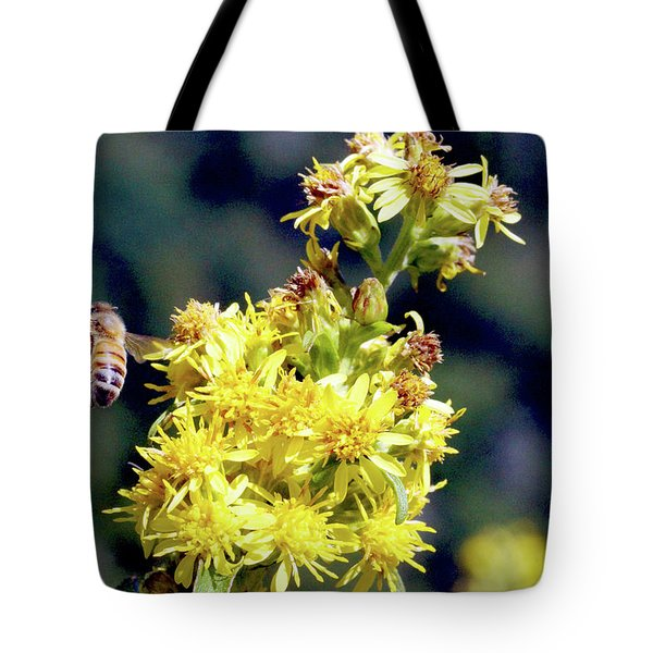 Bee On Goldenrod Tote Bag by Meta Gatschenberger