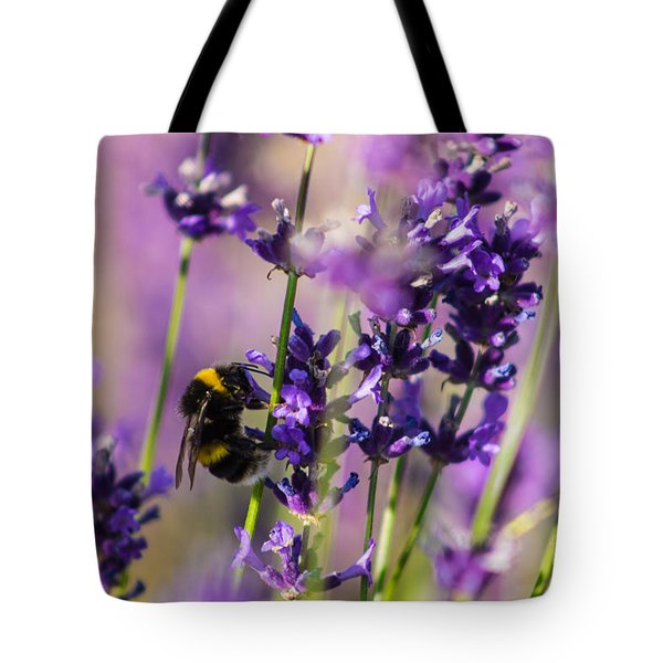 Bee On Lavender Tote Bag