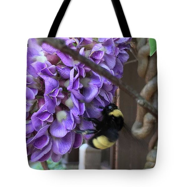 Bee On Native Wisteria Tote Bag