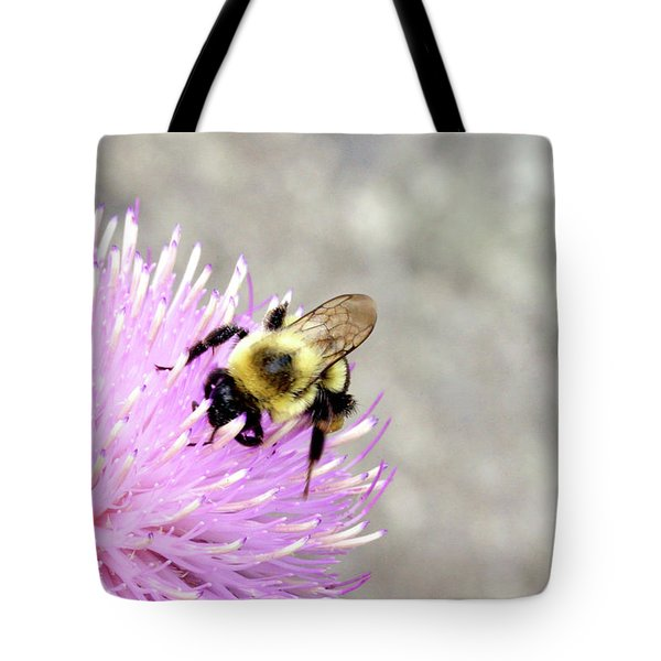 Tote Bag featuring the photograph Bee On Pink Bull Thistle by Meta Gatschenberger