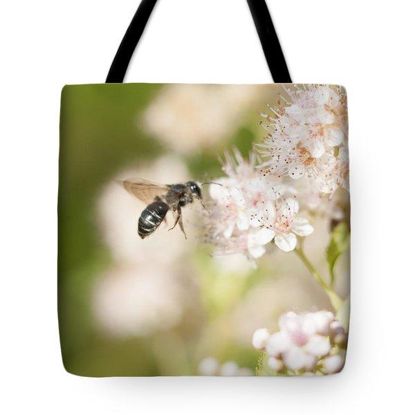 Bee On Pink Flowers Tote Bag