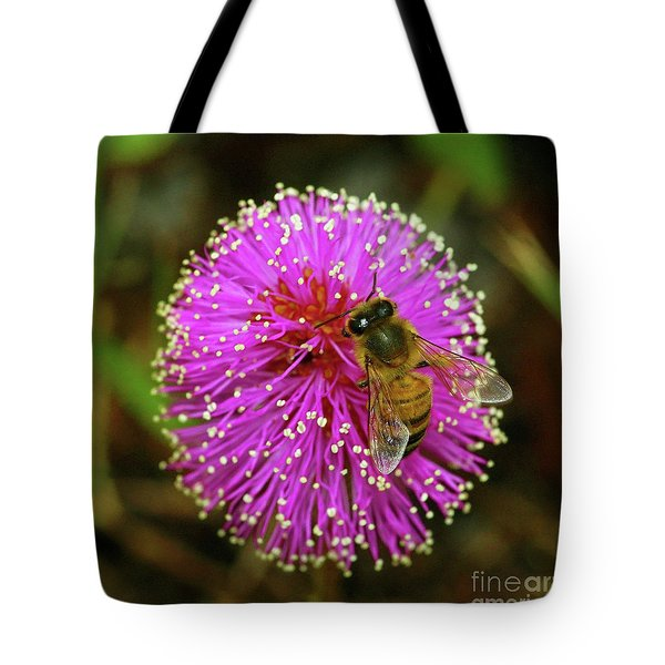 Bee On Puff Ball Tote Bag by Larry Nieland