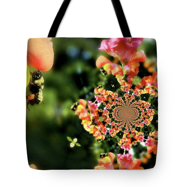 Bee On Snapdragon Flower Abstract Tote Bag by Smilin Eyes  Treasures