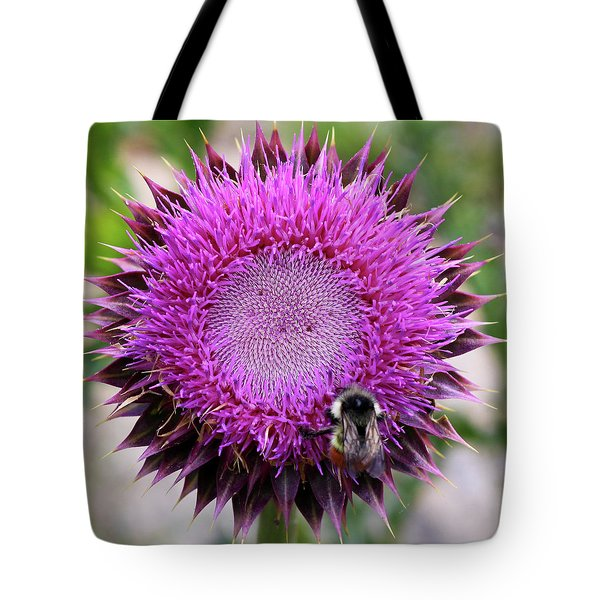 Tote Bag featuring the photograph Bee On Thistle by David Chandler