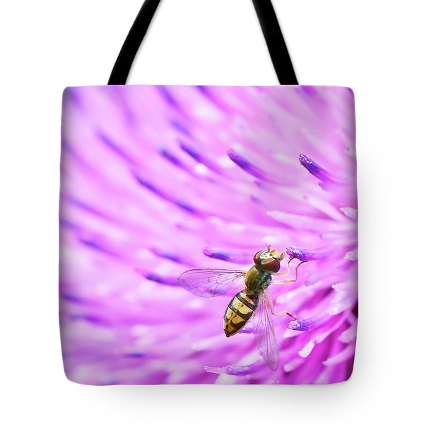 Sweat Bee On Thistle Tote Bag