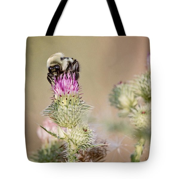 Bee On Thistle Weed Tote Bag