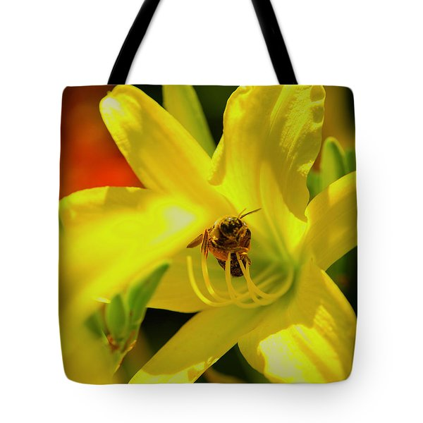 Bee On Yellow Lilly Tote Bag