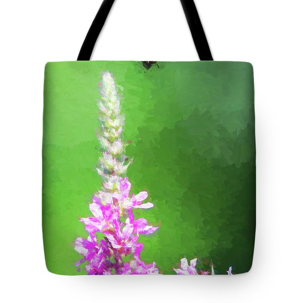 Bee Over Flowers Tote Bag