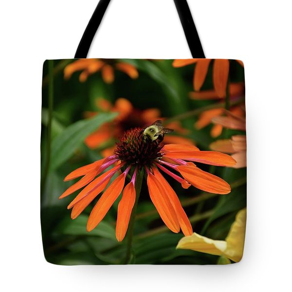 Bee Pollinating On A Cone Flower Tote Bag