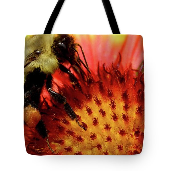 Bee Red Flower Tote Bag by Meta Gatschenberger