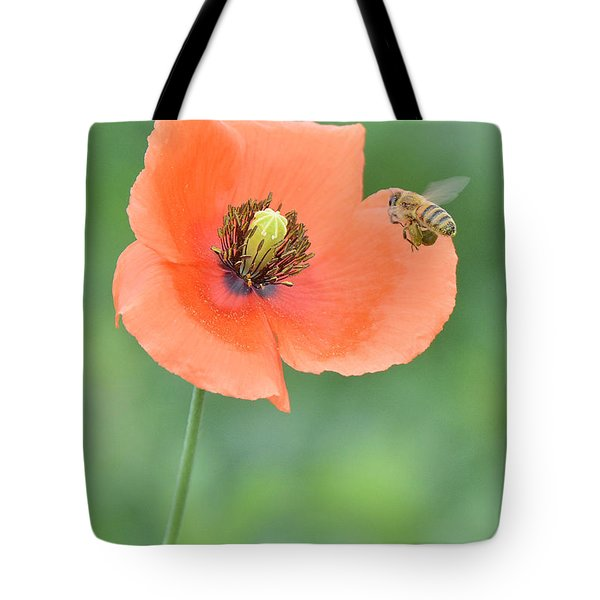 Bee To Poppy Tote Bag