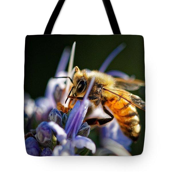 Bee Visits Rosemary  Tote Bag