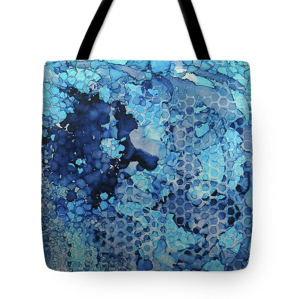 Tote Bag featuring the painting Beekeeper Blues Ink #13 by Sarajane Helm