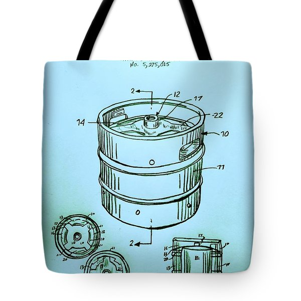 Beer Keg 1994 Patent - Blue Tote Bag by Scott D Van Osdol