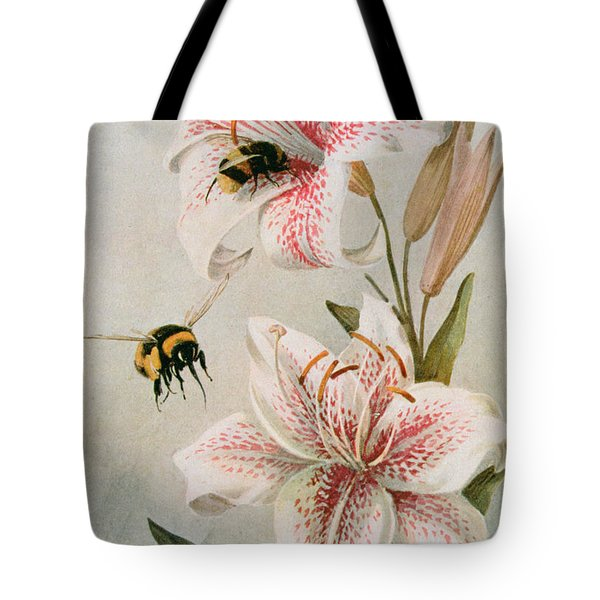 Bees And Lilies Tote Bag