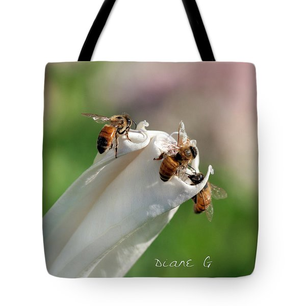 Bees On Angel Trumpet Tote Bag