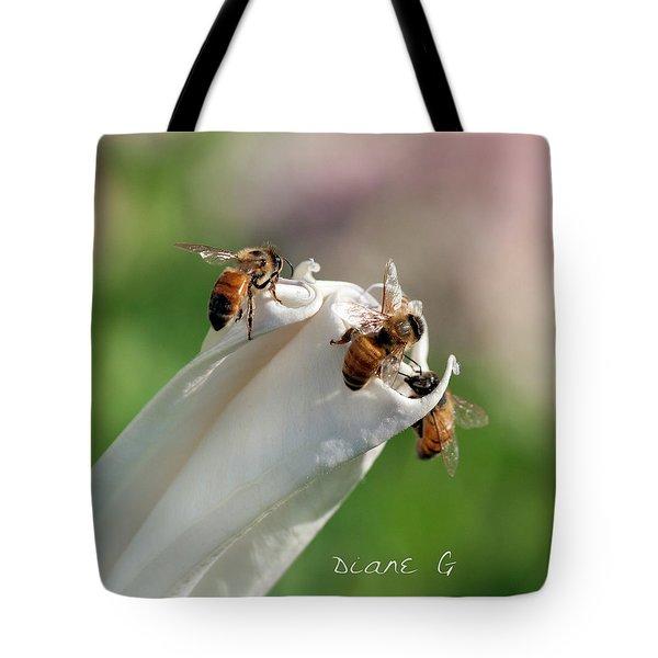 Bees On Angel Trumpet Tote Bag