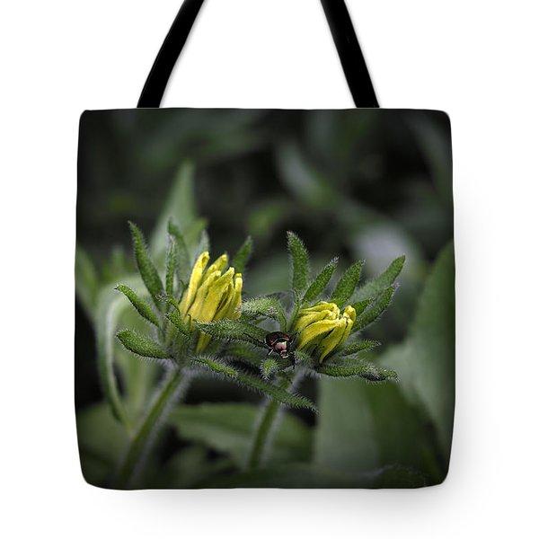 Beetle On Flower Tote Bag