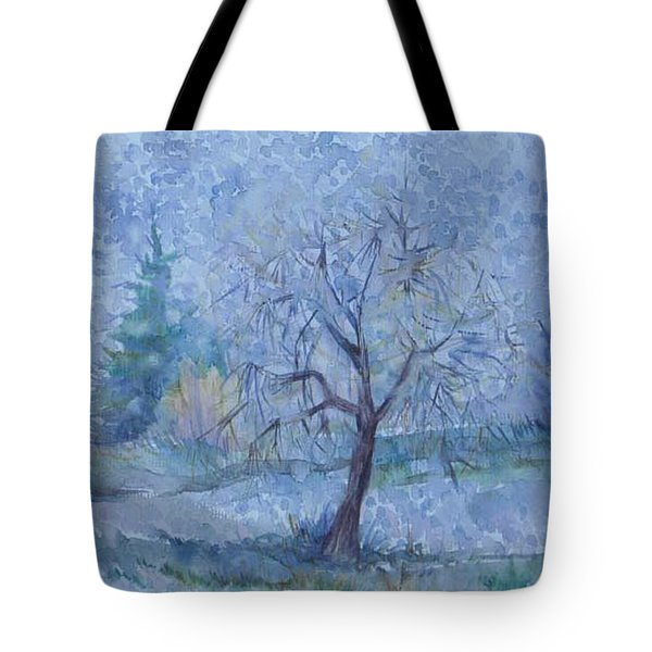 Tote Bag featuring the painting Begining Of Another Winter by Anna  Duyunova