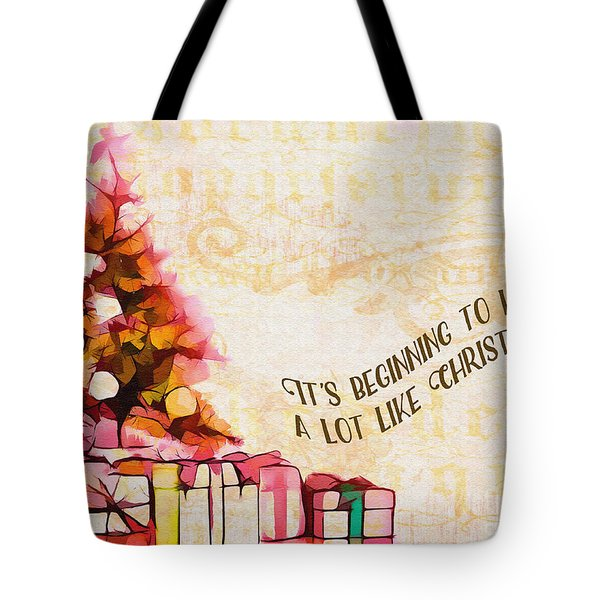 Tote Bag featuring the digital art Beginning To Look Like Christmas Card 2017 by Kathryn Strick