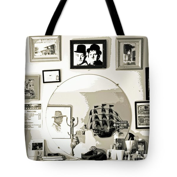 Tote Bag featuring the photograph Behind The Barber Chair by Joe Jake Pratt