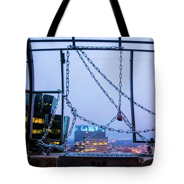 City Behind The Chains Tote Bag