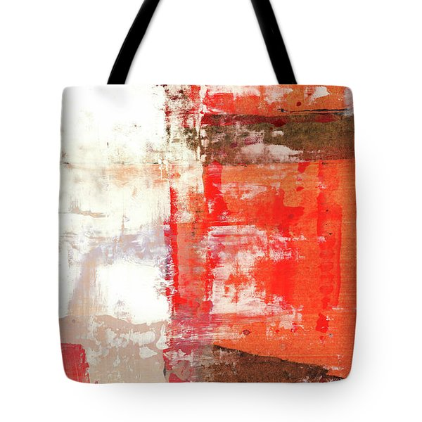 Behind The Corner - Warm Linear Abstract Painting Tote Bag by Modern Art Prints