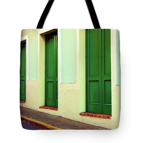Behind The Green Doors Tote Bag by Debbi Granruth
