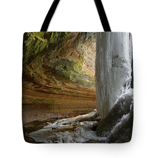 Behind The Ice Falls Tote Bag