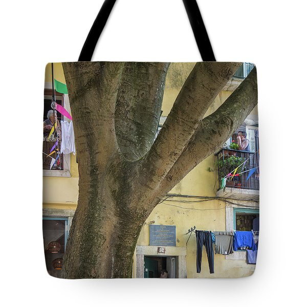 Tote Bag featuring the photograph Behind The Tree by Patricia Schaefer