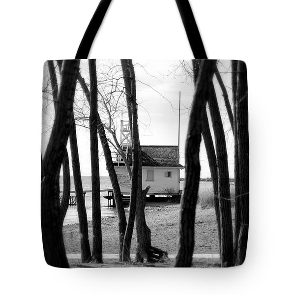 Tote Bag featuring the photograph Behind The Trees by Valentino Visentini