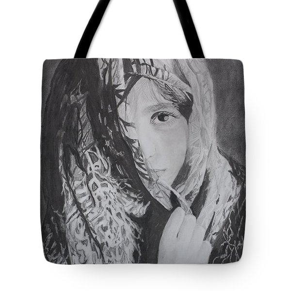 Tote Bag featuring the drawing Behind The Veil by Quwatha Valentine