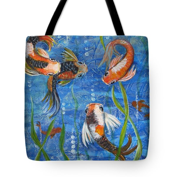 Tote Bag featuring the painting Being Koi by Martha Ayotte