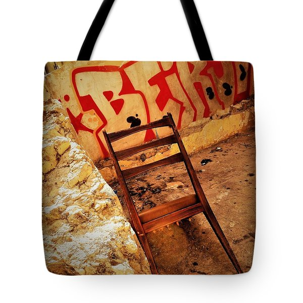 Beirut Graffiti With A Lonely Chair  Tote Bag